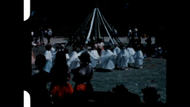 stockvideo's en b-roll-footage met preschool halloween costume pageant at northridge park in the early 1960's - nostalgia