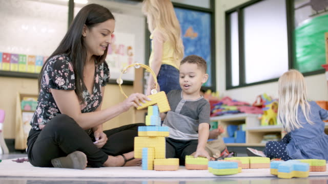 preschool students in daycare - preschool stock videos & royalty-free footage