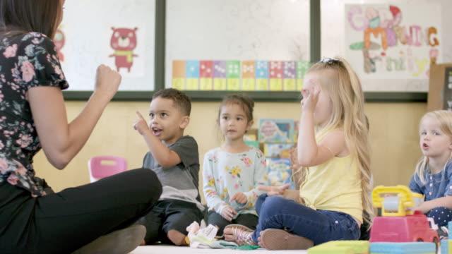preschool students in daycare - preschool child stock videos & royalty-free footage