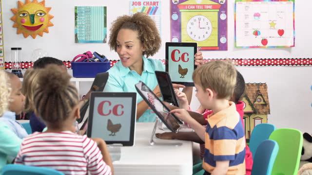 vídeos de stock e filmes b-roll de pre-school students learning alphabet on digital tablet - cuidar de crianças