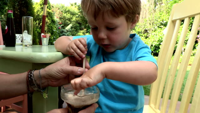 pre-school toddler with mother having a milkshake - straw stock videos & royalty-free footage