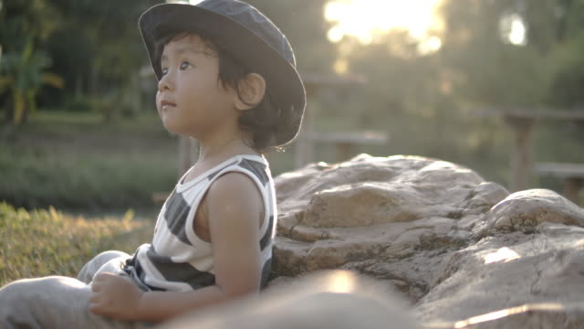 幼児の森の探検 - 男の赤ちゃん一人点の映像素材/bロール