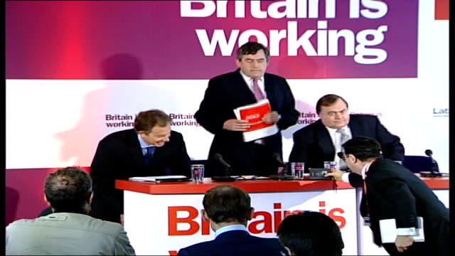Prescott comments on Blair's future LIB Leeds Tony Blair MP Gordon Brown MP and Prescott take seats at press conference to launch local election...