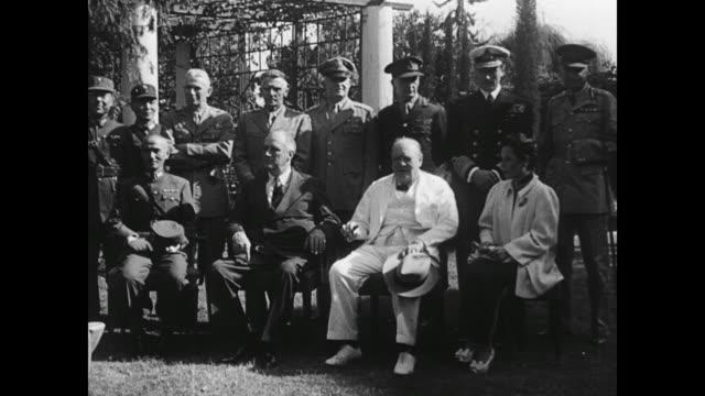 vídeos de stock e filmes b-roll de present are general joseph stilwell, generalissimo chiang kai-shek, madame chiang kai-shek, president franklin roosevelt, general shang chen, lt.... - adrian paul