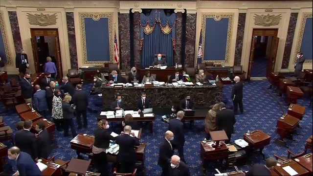 present pro tempore patrick leahy of vermont declares hr 1319 passed by a 50 to 49 vote, to cheers and applause by democrats in the well of senate... - united states congress bildbanksvideor och videomaterial från bakom kulisserna