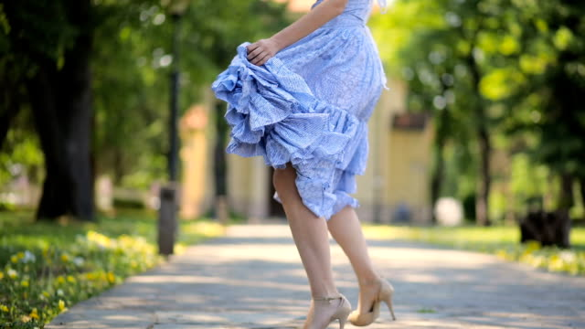 i present to you my new dress - high heels stairs stock videos & royalty-free footage