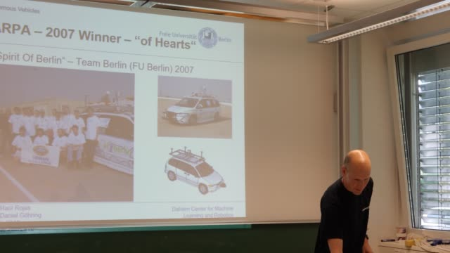 Presentation of computer science professor Dr Daniel Göhring with two autonomous vehicles that were developed at Freie Universität For eight years...
