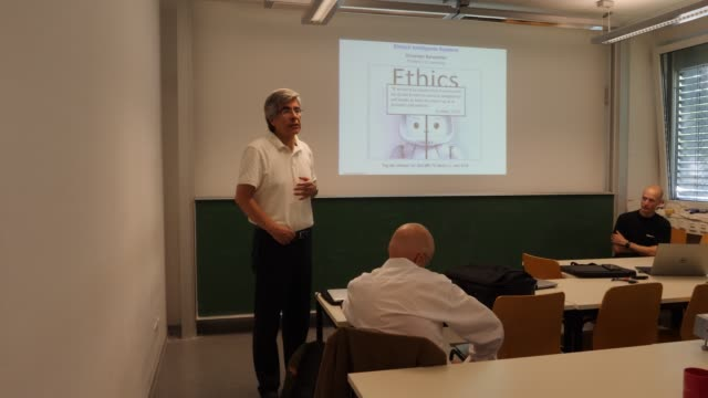 Presentation of computer science professors Dr Raul Rojas and Dr Daniel Göhring with two autonomous vehicles that were developed at Freie Universität...