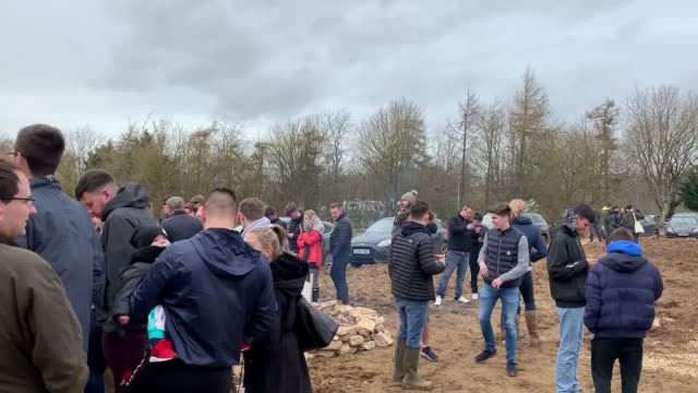 tv presenter jeremy clarkson swapped porches for potatoes on saturday as he threw open the doors to his farm shop for the first time at the squat... - jeremy clarkson stock videos & royalty-free footage