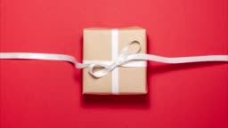 Presents and holidays concept. Gift flat lay