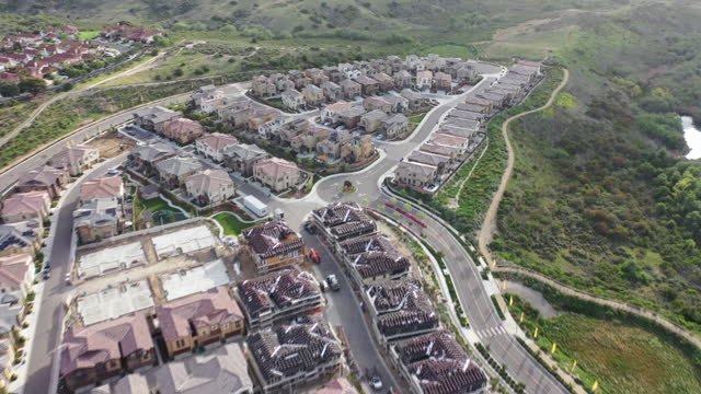 preserve, carslbad suburban housing development and surround area, aerial view in carlsbad, california, u.s. on wednesday, april 14, 2021. - carlsbad california stock videos & royalty-free footage