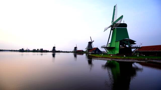 preserved historic windmills in zaandam - mill stock videos & royalty-free footage