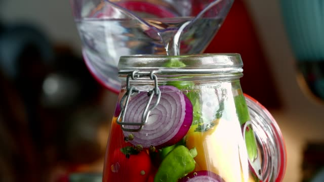 preserving organic colored red bell peppers in jars - lactose fermentation stock videos and b-roll footage