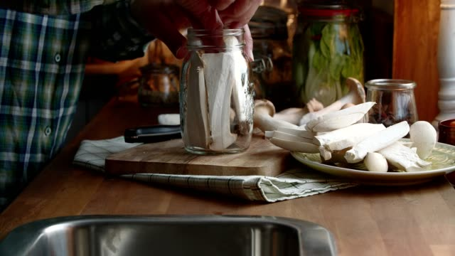preserving organic mushrooms in jars - preserved in oil stock videos and b-roll footage