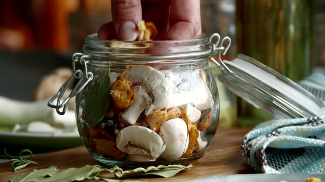 preserving organic mushrooms in jars - fermenting stock videos and b-roll footage