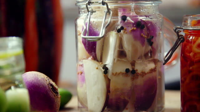 preserving organic vegetables in jars - lactose fermentation stock videos and b-roll footage