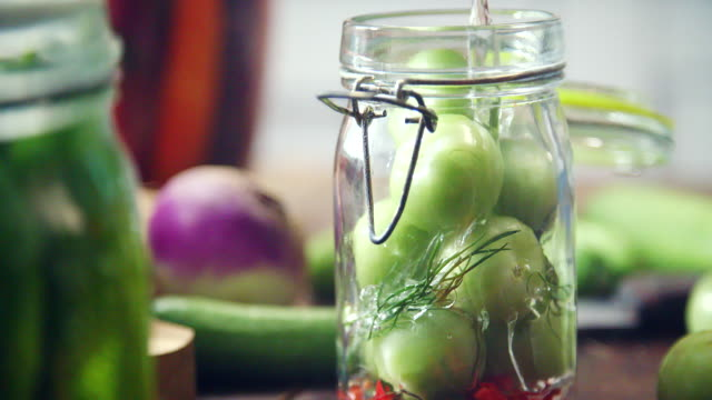 preserving organic vegetables in jars - pickle relish stock videos and b-roll footage