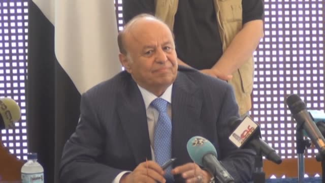 president abd rabbuh mansur hadi holds a meeting with tribal representatives from the cities of lahij and abin within yemen peace talks in the... - aden stock videos & royalty-free footage