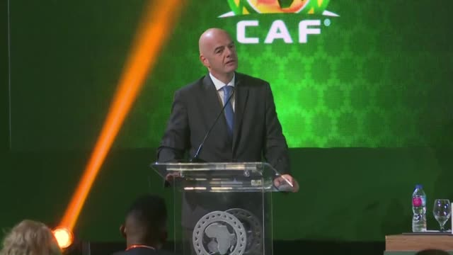 president ahmad ahmad sends a warning cry to the general assembly during a press conference in cairo on the eve of the afcon final while fifa... - fifa stock videos & royalty-free footage
