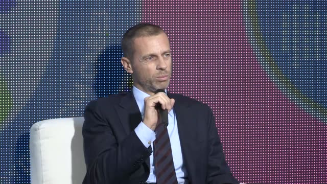 UEFA president Aleksander Ceferin accompanied by president of the Bosnia and Herzegovina's Football Federation Elvedin Begic answers the questions of...