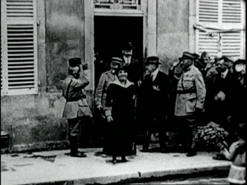 president and madame poincare inspect st mihiel a few hours after its capture from the germans president poincare inspects st mihiel on september 16... - 1918 stock videos and b-roll footage