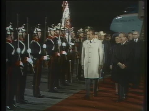 president and mrs. richard nixon review troops with austrian chancellor bruno kreisky upon arriving in salzburg. - (war or terrorism or election or government or illness or news event or speech or politics or politician or conflict or military or extreme weather or business or economy) and not usa stock videos & royalty-free footage