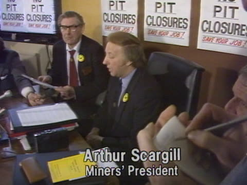 num president arthur scargill declares that miners strikes in yorkshire and scotland have declared official at a press conference - miner stock videos and b-roll footage