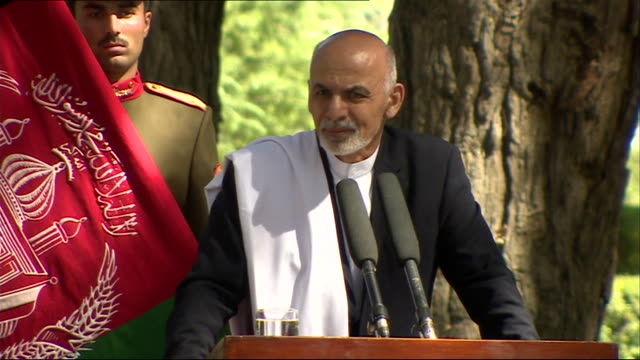 president ashraf ghani speaking about the british military presence in afghanistan during a press conference at the presidential palace in kabul - president stock videos & royalty-free footage