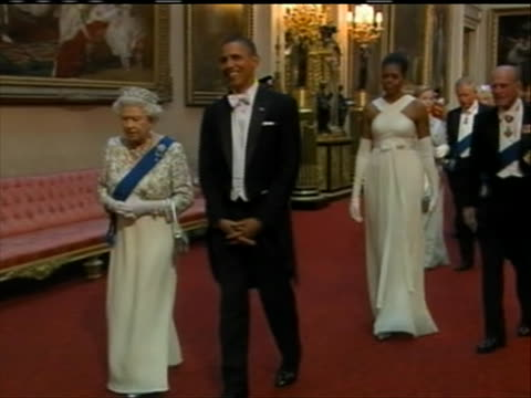 president barack obama and first lady michelle obama arrive at the state dinner at buckingham palace with queen elizabeth ii and prince phillip - dinner lady stock videos & royalty-free footage