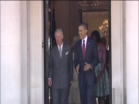 president barack obama and first lady michelle obama meet the prince of wales and the duchess of cornwall on their visit to london - first lady stock videos & royalty-free footage
