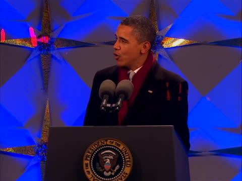 lighting president barack obama and first lady michelle obama participate in the 2011 national christmas tree lighting on december 1 2011 at the... - christmas tree lighting ceremony stock videos & royalty-free footage