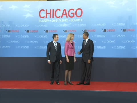president barack obama and secretary general of nato anders fogh rasmussen greet helle thorning-schmidt, prime minister of denmark, at the nato... - united states and (politics or government) stock videos & royalty-free footage