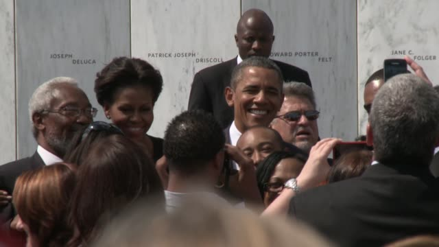 us president barack obama and wife first lady michelle present a wreath and then greet the crowd at shanksville pa the memorial to united flight 93... - war in afghanistan: 2001 present stock-videos und b-roll-filmmaterial