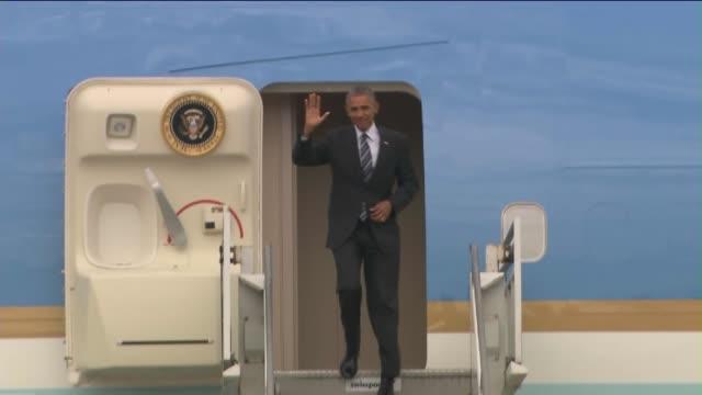 KTLA President Barack Obama Arrives On Air Force One at Los Angeles International Airport
