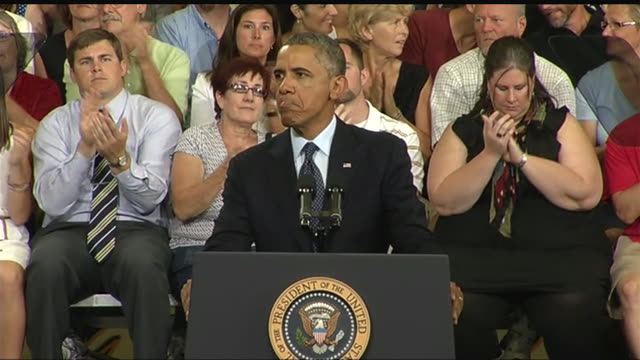stockvideo's en b-roll-footage met president barack obama asserts that immigration reform will help stabilize social security via tax revenue during a 2013 speech about the economy and... - business or economy or employment and labor or financial market or finance or agriculture