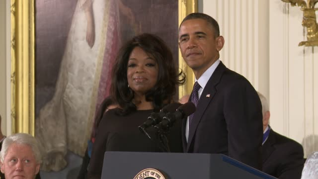 us president barack obama awards the presidential medal of freedom to oprah winfrey oprah receives nation's highest honor at east room white house on... - oprah winfrey stock videos & royalty-free footage