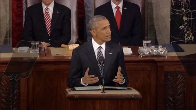 stockvideo's en b-roll-footage met president barack obama begins his final state of the union address he understands low expectations in the election year thanking republicans for... - drug abuse