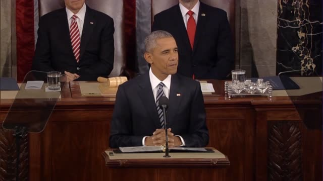 president barack obama begins his final state of the union address in announcing he would try to make it a little shorter because some are antsy to... - rede zur lage der nation usa stock-videos und b-roll-filmmaterial