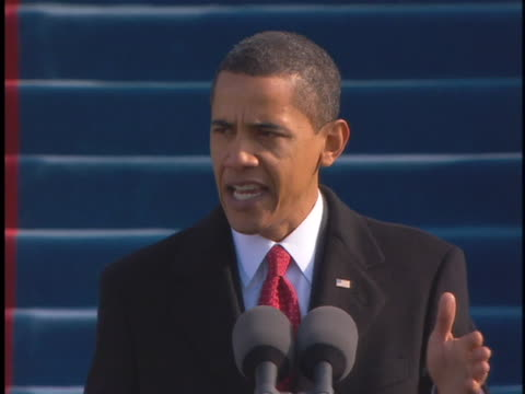 us president barack obama delivers his inauguration day speech on january 20 2009 - 2009 video stock e b–roll