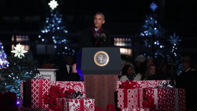 President Barack Obama delivers the Christmas message at his eighth and last National Christmas Tree lighting ceremony at the Ellipse near the White...