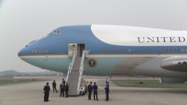 US President Barack Obama departs South Korea via Air Force one at Osan Air Base April 26 2014