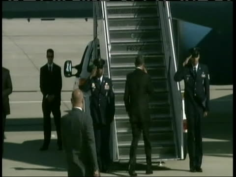 president barack obama exiting marine one and walking into air force one after the chicago nato summit. - north atlantic ocean stock videos & royalty-free footage
