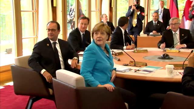 President Barack Obama German Chancellor Angela Merkel and UK Prime Minister David Cameron at meeting with Donald Tusk Shinzo Abe Stephen Harper...