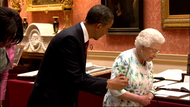 US President Barack Obama given tour of Buckingham Palace More of Barack and Michelle Obama looking at Royal Collection with Queen and Prince Philip...