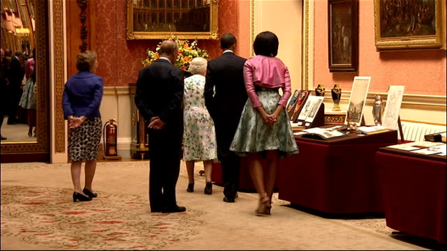 US President Barack Obama given tour of Buckingham Palace Sophie Countess of Wessex along with Prince Charles and Camilla Duchess of Cornwall to look...