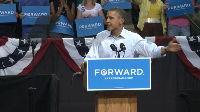 president barack obama, in a loud, enthusiastic rally in swing state virginia saturday, made the case that though times were still tough, he had... - virginia us state stock videos & royalty-free footage