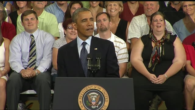 stockvideo's en b-roll-footage met president barack obama jokes about bridges that are old enough to apply for medicare during a 2013 speech about the economy and the middle class - business or economy or employment and labor or financial market or finance or agriculture