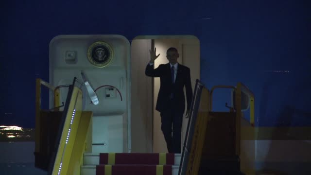 us president barack obama lands in vietnam for a landmark visit capping two decades of rapprochement between the former wartime foes as both... - assertiveness stock videos & royalty-free footage