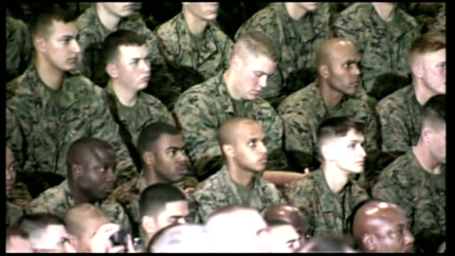 president barack obama paid a visit to marine corps base camp lejeune in jacksonville north carolina during his speech at goettge memorial field... - iraq stock videos and b-roll footage