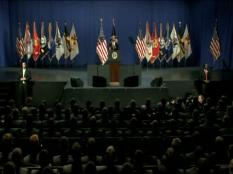 president barack obama puts forward new strategy for afghanistan during speech addressed to us cadets at west point military academy new york 1... - 2001年~ アフガニスタン紛争点の映像素材/bロール